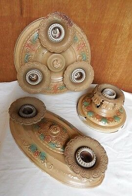 3 Antique Matching Art Deco Ceiling Fixtures