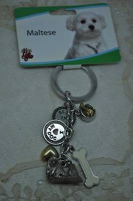 Maltese Multi Charm Dog KeyChain