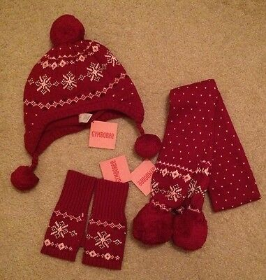 Nwt Gymboree Girls 8 10 12 Winter Hat Scarf Gloves ALPINE SWEETIE Red Fair Aisle
