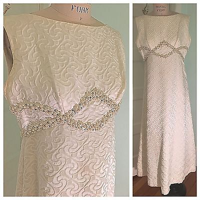 L Vintage Rappi White Brocade Maxi Dress Gown Rhinestones & Pearls Wedding