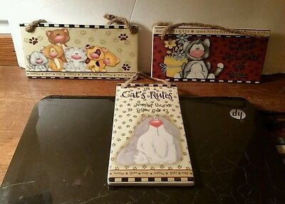Set of 3 TII Collections Ceramic Cat Wall Plaques Wall Decor NWT