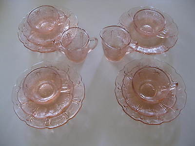 ESTATE FIND!~13 pcs~PINK CHERRY BLOSSOM~Depression Glass Child Dishes~Jeannette