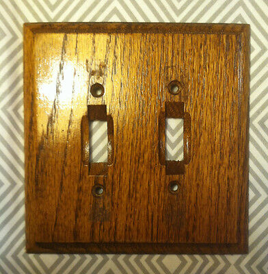 Vintage 1970's Solid Oak Outlet Cover Power Switch Polished Shine Metal Backed
