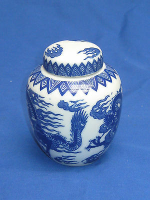 Chinese Blue/white Dragon Vase With Lid