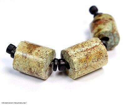 87) Lot of 3 Well Shaped Pre Columbian Chavin Turquoise Stone Beads Artifact