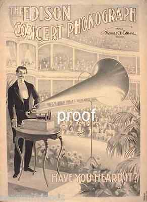 Edison Talking Machine Gramophone  USA Vintage Antique ad print