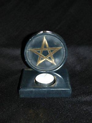 Soapstone Pentagram Tealight Holder Witch Wicca Pagan