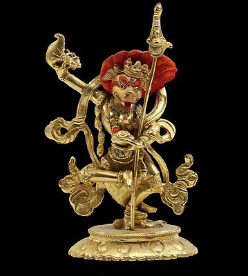 Fine Nepalese Bronze Deity Statue Polychrome Turquoise Coral Jeweled