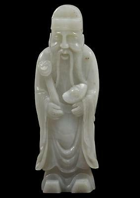 Superb Chinese White Jade Chinese Scholar Standing Carved Statue QING DYNASTY NR