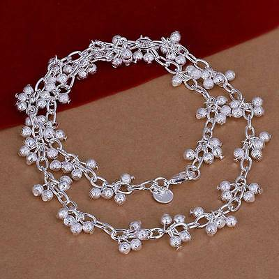 Fashion 925Sterling Solid Silver Jewelry Frosted Grape Necklace For Women N198