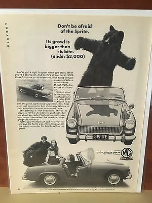 "Vintage 1970 MG  ""Don't be afraid of the Sprite"" Magazine Ad"
