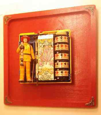 "Decorated ""Fireman"" Assemblage Wall Piece by A. Avila"