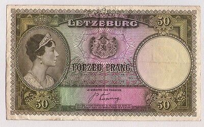1944 Luxembourg 50 Francs Banknote Allied Occupation Wwii Circulated