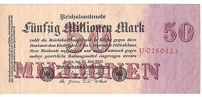 1923 Germany 50 Million Mark Inflation Banknote Vf