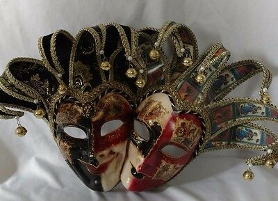 Venetian Mask Double Jolly Jester  Made in Italy Original Hand Printed Vintage