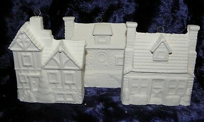 Ready to Paint  Ceramic Xmas 3 House Ornaments x 2 of each  Total 6 Decorations