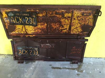 Willys Jeep TWO tailgates w/original CONSECUTIVE Black California Plates ~RARE ~