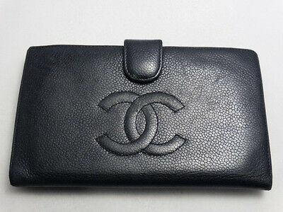 US SELLER Authentic CHANEL LONG WALLET BLACK CAVIAR LEATHER COCO FRANCE