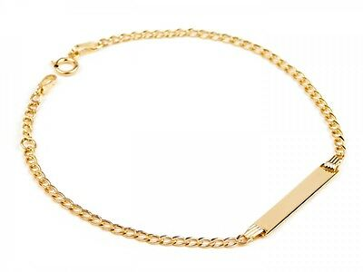 BABY BRACELET 14CT YELLOW GOLD ID IDENTITY 6.25in FOR BABY NEWBORN + ENGRAVING
