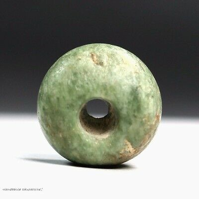 65) Ancient Pre Columbian Mezcala Spotted Jaguar Jadeite Green Stone Bead