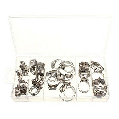 SA 34pcs Assorted Stainless Steel Hose Clamp+Driver Jubilee Clip Style Set