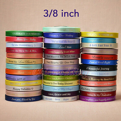 "3/8"" 25/50/100-Yard Satin Personalized Ribbons Craft Bow Party Wedding Decor New"