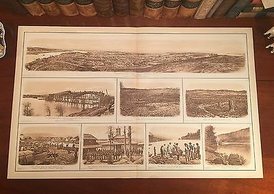 Large Original Antique Civil War CHATTANOOGA Tennessee TN Panoramic View Map