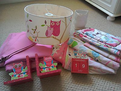 Girls pink owl bedroom light curtains 3 duvet covers bookends calendar container
