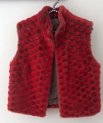 Girls Red Fur Gilet Age 7-8