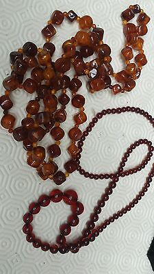 Vintage 1950S * FAUX CHERRY AMBER *BEAD* *LUCITE *FACETED GEOMETRIC NECKLACE