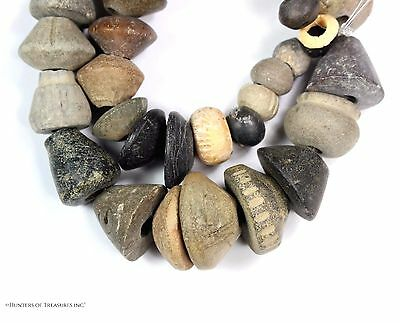 93) Lot of 43 Ancient Pre Columbian Ceramic and Stone Spindle Whorl Beads Strand
