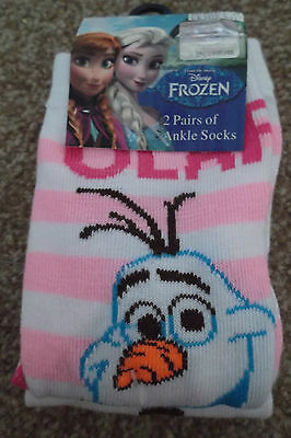 Disney Frozen Girls 2 Pairs Of Ankle Socks Olaf Uk Size 9-11