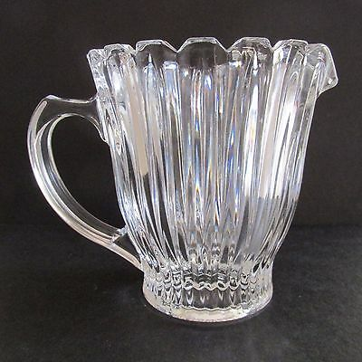A Beautiful Vintage Art Deco Pressed Glass Jug with Ribbs and Scalloped edge