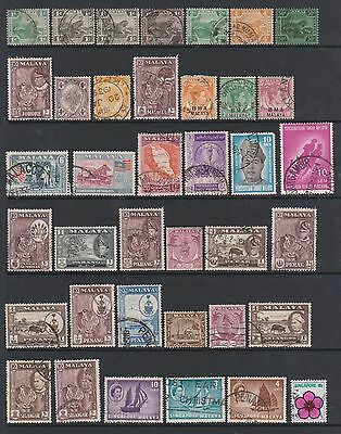 Malaya selection. Victoria-George VI. Nice used with nice cancels.