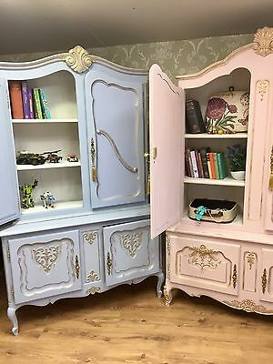 Sold--Carved Louis Style French Shabby Chic Bookcase Display Drinks Cabinet Boys