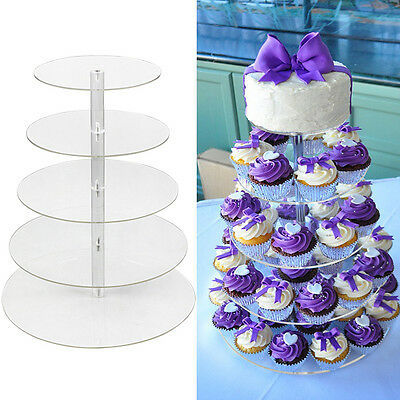 5 Tiers Round Clear Acrylic Cupcake Stand Wedding Birthday Display Cake Tower