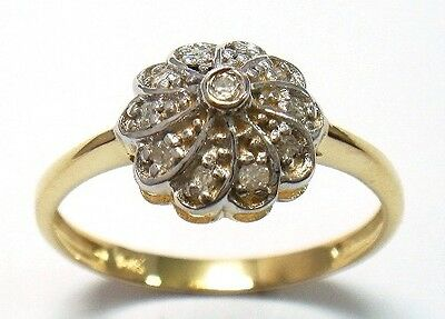 Fine 9Ct Solid Yellow Gold 11 Diamonds Ring Size N    R1373