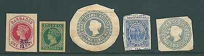 Vintage Postal Stationery cut-out stamps from the WEST INDIES