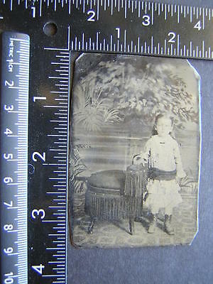 Tintype Photo cute girl stands rests arm