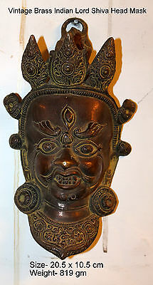 Vintage Brass  Indian Lord Shiva Mask,face,home Decor,india,wall Art