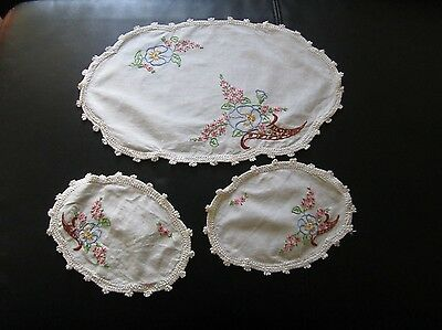 Hand Embroidered Duchess Set Crochet edge x 3 pieces