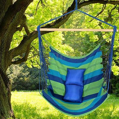 Garden Hanging Seat Cotton Rope Swing Hammock Chair With 2 Mats Outdoor Camping
