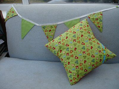 Child/ Baby  cushion cover and  matching bunting - FROGS