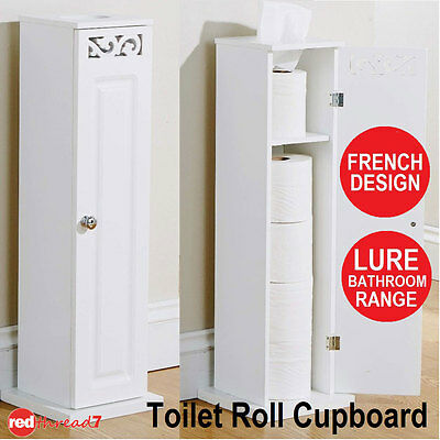 Toilet Roll Holder Cupboard White Free Standing Bathroom Storage Wooden Lure New