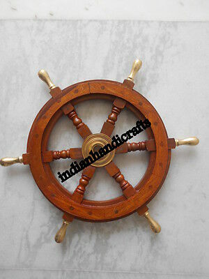 "Nautical Marine 18"" Wooden decorative Captains Steering Ship Wheel Replica"
