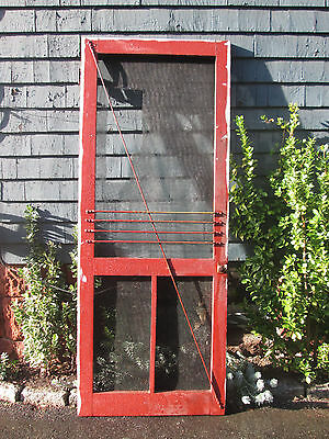 Antique Country Farmhouse Cottage Wood Screen Door Self-closing Hinges