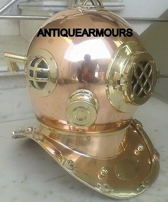 Brass Copper US Navy Diving Divers Helmet Full Size Antique Style Replica