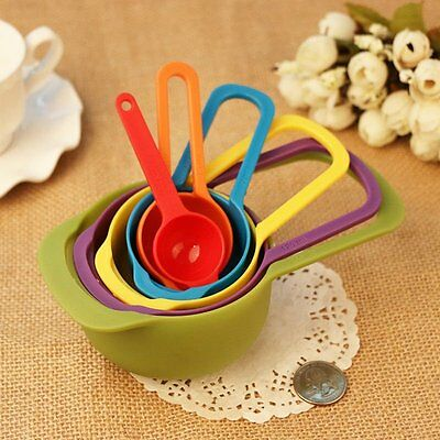 6Pcs/set Colorful Plastic Measuring Cup Spoons Set Baking Cooking Kitchen Tool