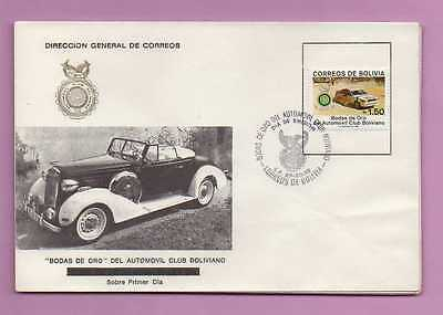 1988  BOLIVIA First Day Cover FDC Cars Sc# 781  Automoviles