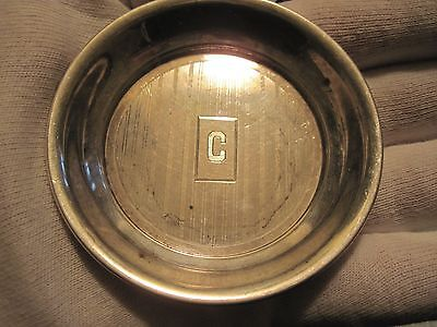 Hallmarked Sterling silver 3'' dish/coaster monogramed ''C''